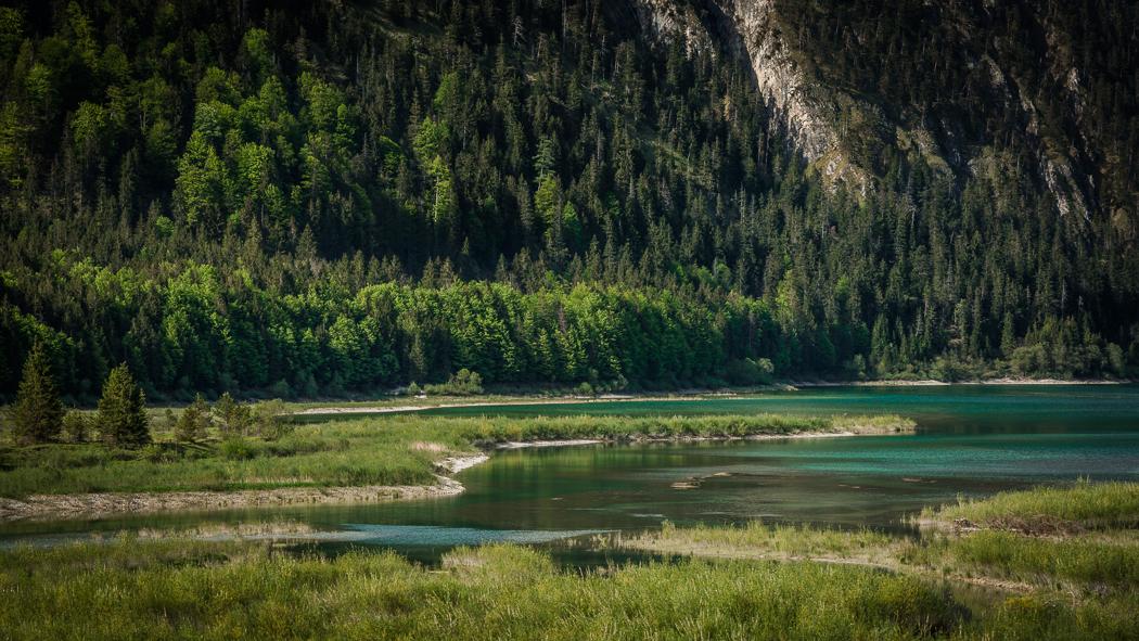 Sylvensteinspeicher See Felswand Alpen Ufer