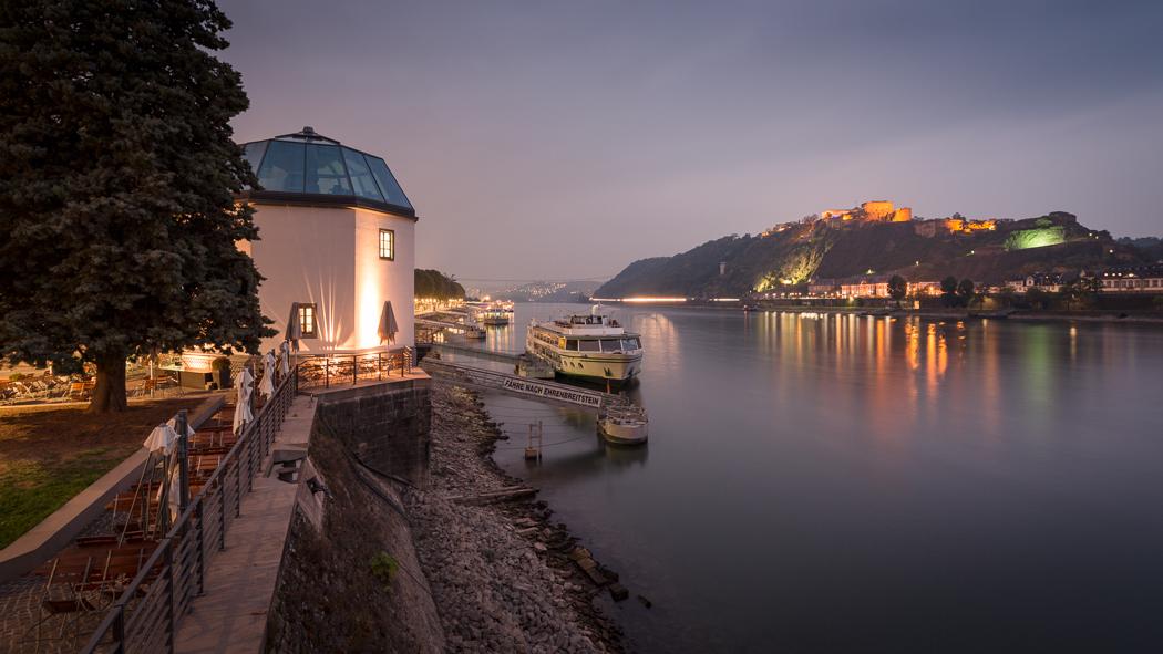 Koblenz Rheinland Pfalz Pegelhaus Rhein Festung Ehrenbreitstein