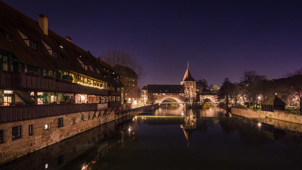 Nürnberg Nuremberg Pegnitz Kettensteg Maxbrücke Bayern