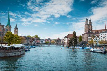 Switzerland Zurich Limmat Grossmünster