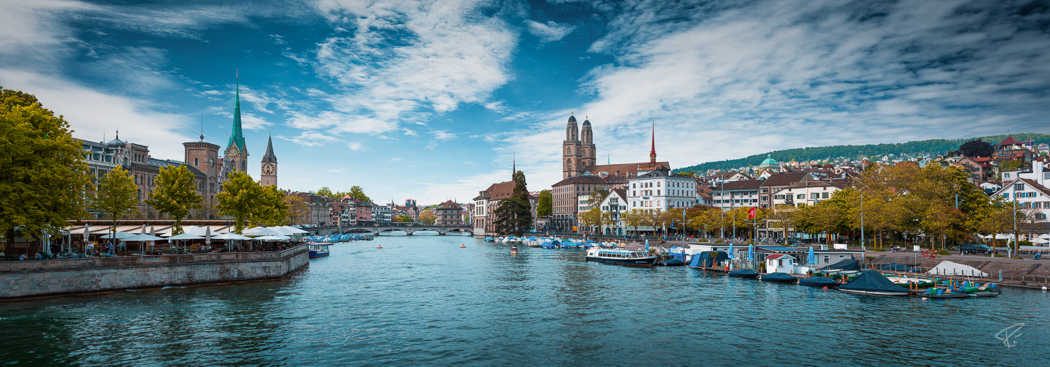 Switzerland Zurich Limmat Grossmünster