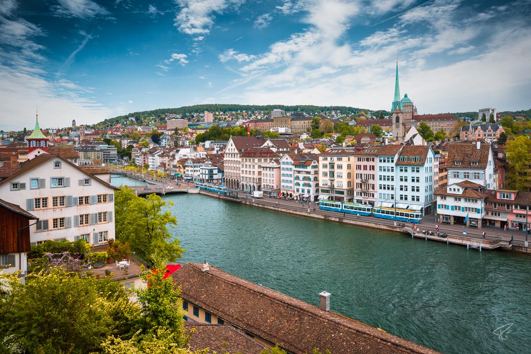 Switzerland Zurich Limmat Lindenhof