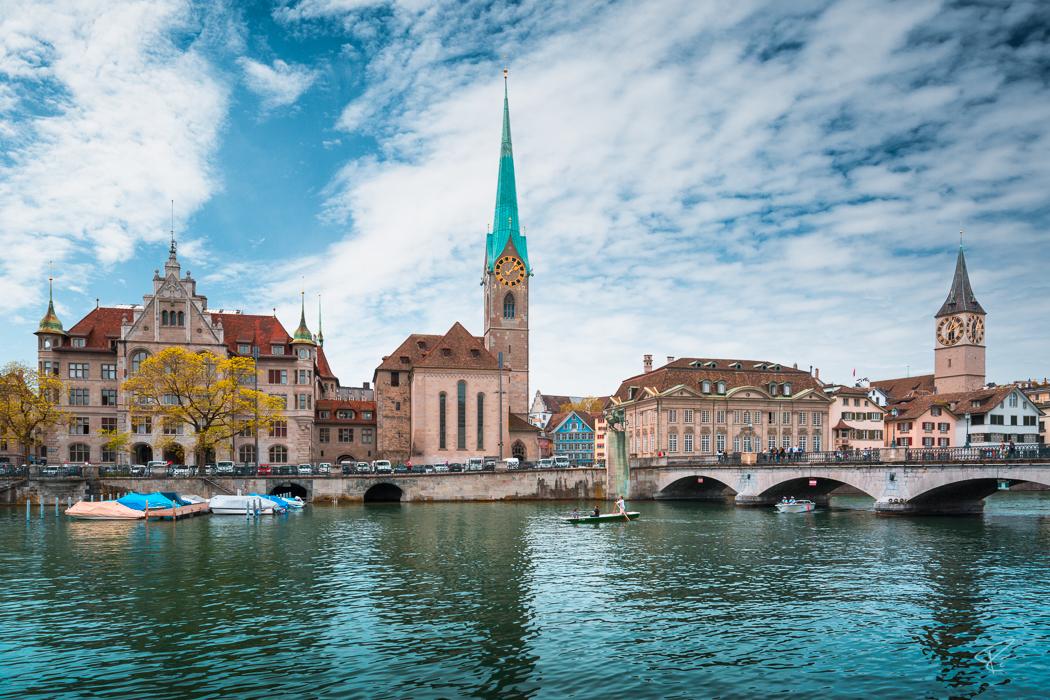 Switzerland Zurich Limmat Fraumünster