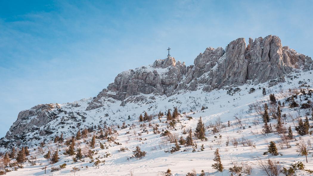 Kampenwand Chiemgauer Alpen Gipfelkreuz Winter