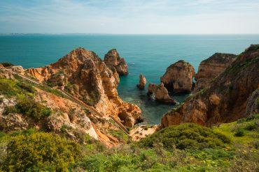 Algarve Portugal Ponta Da Piedade rocks Felsen stairs Treppen